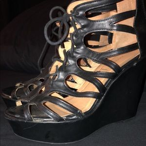 Black leather lace up wedge
